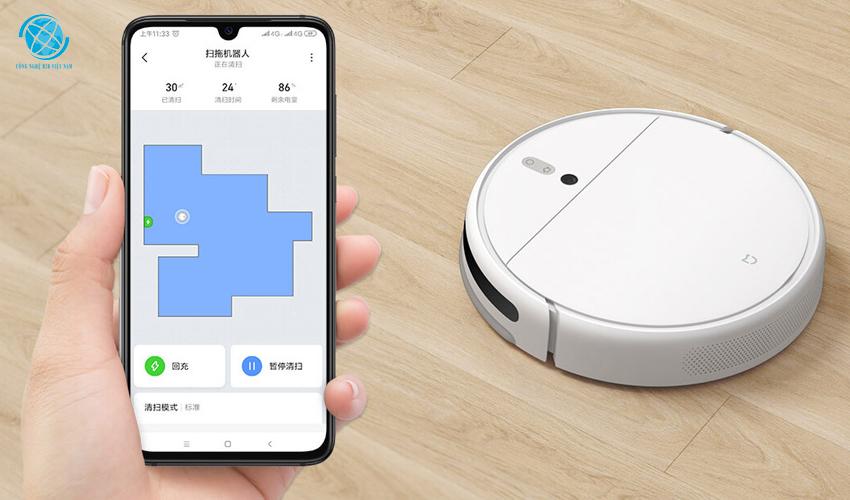 Robot xiaomi mi robot vacuum mop 1c kết nối qua ứng dụng Mi-Home
